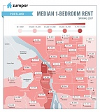 COURTESY ZUMPER - Rents vary across the city in a recent report on median monthly costs.