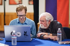 COURTESY OF DAVID FURNAL - Illustrator David Furnal, left, is mentored by Larry Elmore prior to the awards ceremony.