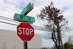 OUTLOOK PHOTO: ZANE SPARLING - A street sign marks the intersection of Northeast 201st Avenue in Fairview.