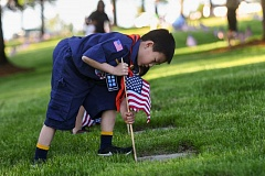OUTLOOK PHOTO: JOSH KULLA - Happy Valley Cub Scout Isaac Lee plants an American flag at a veteran's grave site Thursday during the Boy Scouts Cascade Pacific Council's annual flag placement ceremony at Willamette National Cemetery in southeast Portland.