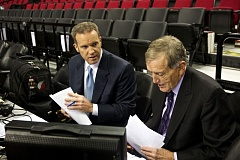 TRIBUNE FILE PHOTO: JAIME VALDEZ - Mike and Mike -- Barrett (left), Rice (right) -- were replaced as the Trail Blazers TV announcing team before the 2016-17 NBA season. Barrett, who admits that was painful, is listening to other job offers.
