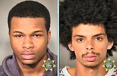 MCDC BOOKING PHOTOS - Currently in jail, awaiting trial on numerous charges, is the alleged driver of the stolen vehicle, 21-year-old Alex James Burton, left. 19-year-old DAndre Larence Bauer, at right, a passenger in the stolen car and also charged in this incident, is free on Pre-Trial Supervision.