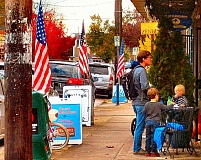 RITA A. LEONARD - A row of American Flags on Veterans Day, on S.E. 13th in Sellwood.