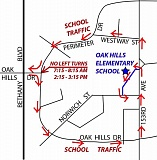 SUBMITTED PHOTO - This map shows the new traffic flow at the intersection of Northwest Oak Hills Drive and Northwest Perimeter Drive is designed to aid with safety in the area and also to cut down on congestion near Oak Hills Elementary School.
