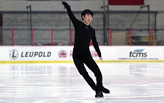 TIMES PHOTO: MILES VANCE - Chinese figure skater Jin Boyang, currently one of the top-ranked mens figure skaters in the world, works on his jumps and routine at the Winterhawks Skating Center in Beaverton on Tuesday.