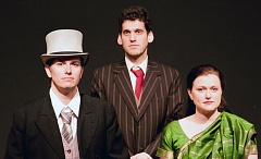 COURTESY BEAVERTON CIVIC THEATRE - In Beaverton Civic Theatres Around the World in 80 Days, James Van Eaton (from left) plays Phileas Fogg, Adam Caniparoli is Passepartout, Priscilla Howell portrays Aouda.