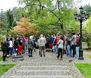 COURTESY PHOTO: JESSICA SCHMIDTMAN - Forty John F. Kennedy High School students (above) visited the Holocaust Memorial in Portland's Washington Park April 13.