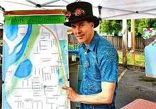 DAVID F. ASHTON - Park-to-Park Walkway advocate Bradley Heintz shows us the missing link in the project.