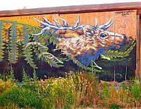 RITA A. LEONARD - Artist Stefan Ways painted this mural of native Pacific Northwest species on the side of a business building in May, near S.E. 17th and Holgate Boulevard.
