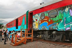 DAVID F. ASHTON - Driving up S.E. Water Avenue past the Oregon Museum of Science and Industry, north of the Ross Island Bridge, its easy to spot these brightly decorated railcars - which are now the offices of three marketing agencies.