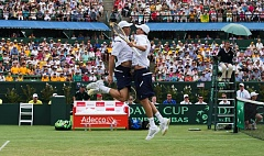 COURTESY: MIKE FREY - Mike and Bob Bryan celebrate during their Davis Cup first-round victory at Melbourne, Australia in March 2016.