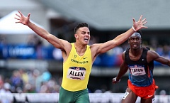 TRIBUNE PHOTO: DAVID BLAIR - Devon Allen from the University of Oregon wins the 110-meter hurdles at Hayward Field, earning a spot on the U.S. Olympic team for the Rio de Janeiro Games.
