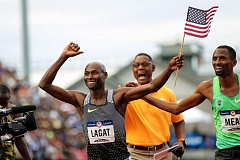 TRIBUNE PHOTO: DAVID BLAIR - Bernard Lagat celebrates after winning the 1,500 meters Saturday at the U.S. Olympic Trials in Eugene.