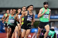TRIBUNE PHOTO: DAVID BLAIR - Matthew Centrowtiz (center) goes after Ben Blankenship (right), with Leo Manzano (left) in pursuit during the men's 1,500 meters Sunday at Hayward Field. Centrowitz won in U.S. Olympic Trials-record time, and Blankenship placed third and also earned a spot on the team for the Rio de Janeiro Olympics.