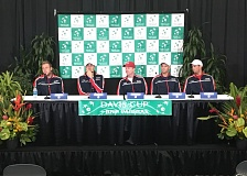 TRIBUNE PHOTO: JAIME VALDEZ - The U.S. Davis Cup team (from left) meets the press. From left: Jack Sock, John Isner, captain Jim Courier, Bob Bryan and Mike Bryan.