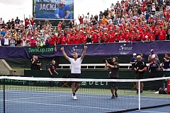 TRIBUNE PHOTO: JAIME VALDEZ - Jack Sock of the U.S. celebrates as the crowd goes wild Friday afternoon at Tualatin Hills Tennis Center, where he prevailed in five sets against Croatia's Marin Cilic to open the weekend Davis Cup quarterfinals.