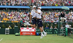 COURTESY USTA - The United States Davis Cup doubles team of Mike and Bob Bryan are one of the world's best duos and have a chance to clinch a quarterfinal victory with a win on Saturday. Their match begins at 1:30 p.m.