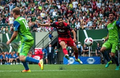 TIMBERS PHOTO: DIEGO G. DIAZ - Diego Valeri of the Portland Timbers shoots and scores just before halftime Sunday afternoon at Providence Park. Portland beat the Seattle Sounders, 3-1.