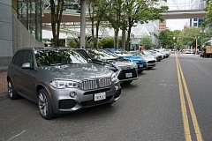 TRIBUNE PHOTO: JEFF ZURSCHMEIDE  - Fourteen of the most advanced green cars in the country came to Portland for an automotive conference at the World Trade Center last week.