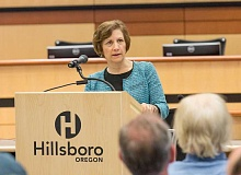 COURTESY RICK PAULSON PHOTOGRAPHY - Oregon Rep. Suzanne Bonamici speaks with constituents at the Hillsboro Civic Center on Monday night. Bonamici is touring the First Congressional District with a series of town halls while Congress is in recess.