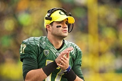 TRIBUNE FILE PHOTO: DAVID BLAIR - Veteran Oregon quarterback Jeff Lockie waits to see what role he'll play for the Ducks this season.