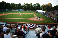 TRIBUNE PHOTO: ADAM WICKHAM - The scene at Walker Stadium on Thursday night as the Portland Pickles wrap up their first season before a crowd of 2,599.