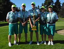 COURTESY: OREGON GOLF ASSOCIATION - Winners of the Eddie Hogan Cup from Team Oregon No. 1 (from left): captain Steve Hagen, Mayson Tibbs (Prineville), Spencer Tibbits (Vancouver, Wash.), Craig Ronne (Klamath Falls) and Samuel Pyon (Happy Valley).