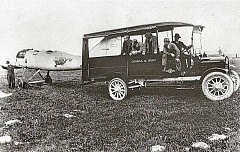 COURTESY OF JOHN FYRE - This is a picture of the first plane assembled and flown from what is now Westmoreland Park by the Aero Club of Oregon. Participants, from left to right: Noel B. Evans, Ralph Hedderly, Larry Hickman, Archie Roth, Danny Grecco, and Al Nehl. The photo was taken in June of 1920.