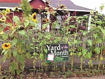 JOHN BAKER - The current winner's hard features a cheery row of sunflowers at the curb (planted to attract birds), with fruit bearing strawberry plants below, a white picket fence, and a cozy front porch upon which she loves to sit and chat with neighbors as they stroll past.