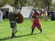 PHOTO COURTESY OF CANTON OF KALDOR NESS - Two members of the Canton of Kaldor Ness demonstrate fighting skills in full costume. Some members of the group spend months creating their own metal armor for the demonstrations.