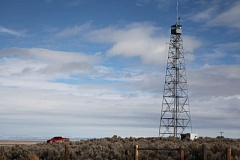 COURTESY PHOTO: AMELIA TEMPLETON/OPB - A watchtower at the Malheur National Wildlife Refuge. Andy Dunbar, a rancher who lives adjacent to the refuge, explained his view of the occupation in court.