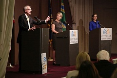 JON HOUSE/PAMPLIN MEDIA GROUP - GOP gubernatorial candidate Bud Pierce makes a point during a debate with Gov. Kate Brown Friday at the City Club of Portland. Laura Gunderson, of the Oregonian, served as moderator.
