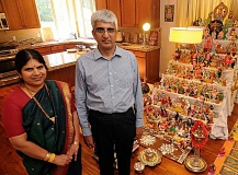 REVIEW PHOTO: VERN UYETAKE - Meera Sreedhar and Sreedhar Sivakumaran welcomed the community to their Lake Oswego home during the nine-night and 10-day festival of Navratri.