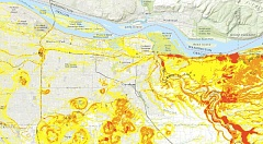 COURTESY GRAPHIC - A topographic map shows the areas of East Multnomah County that are most prone to landslides. Yellow dots mark spots where confirmed landslides have been reported.