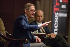 PORTLAND TRIBUNE: JONATHAN HOUSE - Mayor-elect Ted Wheeler spoke to the Portland Business Alliance at its monthly breakfast forum on Wednesday. Oregon Historical Society Executive Director Kerry Tymchuk (background) served as moderator.