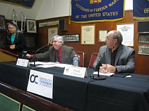 PHOTO BY RAYMOND RENDLEMAN - At the Oct. 6 debate hosed by the OC Chamber, are from left, Chin Ryan, moderator; and candidates for City Commissioner Position 3 - Paul Espe and Frank O'Donnell.
