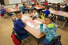CONTRIBUTED PHOTO - Eager third graders at Glenfair Elementary School are ready for their next assignment. Glenfair has the highest mobility rate of any school in East Multnomah County.