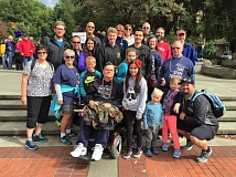 CONTRIBUTED PHOTO - Sam Beekman (center, on motorized scooter) gathers with family and friends during the 2016 Walk to Defeat ALS in Vancouver, Wash., on Oct. 1.