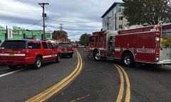 COURTESY PHOTO: KOIN 6 NEWS - Portland firefighters and crews from NW Natural rushed to Thursday afternoon's natural gas leak on Northeast Glisan Street near Sandy Boulevard.