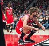 TRIBUNE PHOTO: JOSH KULLA - From Trail Blazers center Robin Lopez helps the Chicago Bulls rout the Trail Blazers on Tuesday night at Moda Center.