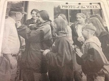 ARCHIVE PHOTO - In 1996, students gave Estacada News publisher Bill James a pin in honor of the ninth-annual drug awareness week.