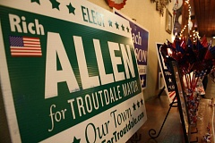 OUTLOOK PHOTO - Campaign signs for Rich Allen, Zach Hudson, Corey Brooks and Glenn White are on display at an Election Night party at The Troutdale House on Tuesday, Nov. 8.