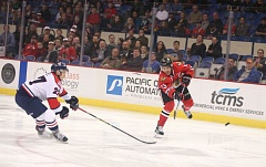 COURTESY: BRYAN HEIM - Keegan Iverson of the Portland Winterhawks blasts the puck at the Lethbridge net Sunday at Memorial Coliseum.