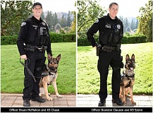 SUBMITTED PHOTOS - LOPD Officer Bryan McMahon will team with K9 Chase (left), while Officer Brandon Clausen will work with K9 Szemi.