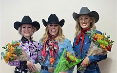 CONTRIBUTED PHOTO - Meet the 2017 Clackamas County Fair and Canby Rodeo Court: Princess Danelle Graziano, Queen Amber Cook and Princess Savannah Storlie.