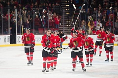 TRIBUNE PHOTO: CHRISTOPHER OERTELL - The Portland Winterhawks skate away with a 4-2 victory against Edmonton on Wednesday night at Moda Center.