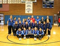 REVIEW/NEWS PHOTO: JIM BESEDA - La Salle Prep's OSAA Class 5A girls' soccer state championship team unveiled the school's title banner during a Nov. 18 ceremony in the school gym.