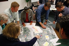 FILE PHOTO - Residents and community leaders map areas along Halsey Street ripe for new development. They were part of a workshop held Thursday, Oct. 26, at the Wood Village Baptist Church.
