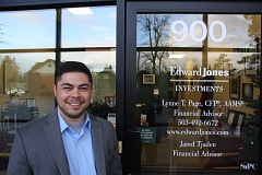 OUTLOOK PHOTO - Jared Tjaden has worked for Edward Jones for almost 18 months. 'I help tailor solutions to individuals looking for long-term investment services,' he says.