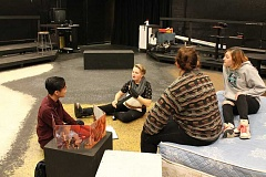 TIDINGS PHOTO: ANDREW KILSTROM - From left, Philip Chan, Kirsten Driggers, Mary Gilmour and Ellen Willmarth rehearse a scene in the WLHS black box.